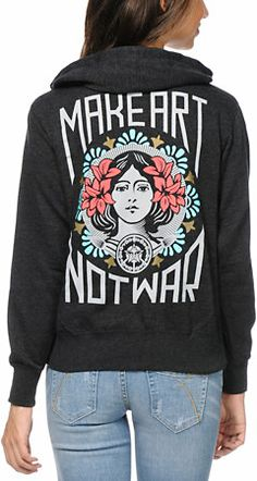 $49.95 Zumiez - Obey Make Art Not War Charcoal Hoodie at Zumiez : PDP (Color: Charcoal)