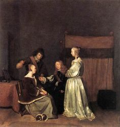 Gerard ter Borch >> The Visit  |  (Oil, artwork, reproduction, copy, painting).