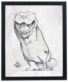 Pit Bull Caricature Art Print by John LaFree – JohnLaFree.com #pitbull #johnlafree