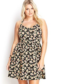 Floral Print Fit & Flare Dress | FOREVER21 PLUS - 2000059872