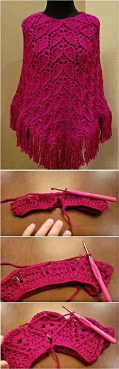 Leaf Stitch Poncho Crochet Tutorial