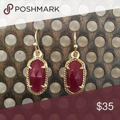 Kendra Scott Lee Gold Earrings in Maroon Never worn. Small, maroon with gold frame Kendra Scott Jewelry Earrings