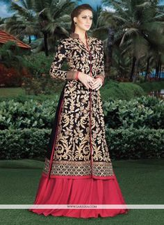 Everyone will admire you when you wear this clad to elegant affairs. Make the heads turn when you dress up in this charming navy blue and red art silk lehenga choli. The embroidered and resham work lo...