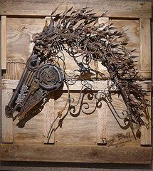 Recycled Metal Sculptures - Horse head made with all recycled metal