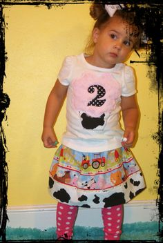 Girls Farm Theme Birthday Outfit 2 Piece by SweetSophiaBowtique.