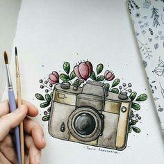 Рисунки 😁😁😁 Beautiful Drawings, Cute Drawings, Drawing Sketches, Drawing Ideas, Camera Drawing, Arte Sketchbook, Pencil Art, Doodle Art, Art Inspo
