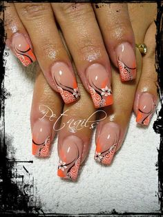 Orange design w/flowers