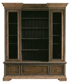 """Stanley Furniture """"Les Halles"""" European Farmhouse 018-71-10 Display Cabinet - Available In Provincial Paint Only.  2 glass doors, center open, 3 lights. 72.75""""WX18.25""""DX88""""H.  3,591$"""