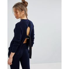 Micha Lounge Tie Back Jumper ($52) ❤ liked on Polyvore featuring tops, sweaters, navy, tie back sweater, layered sweater, tie top, layered tops and high neckline tops