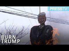 Palestinian protesters burn Trump, Pence effigies