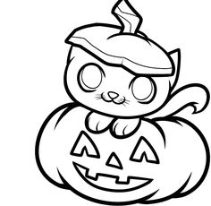 Garfield In The Pumpkin Coloring Picture For Kids