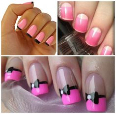 pink nail art @Lory Pink Pizza with bow tie!!!