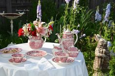 "Bernideen's Tea Time Blog: ENGLISH RED TRANSFERWARE for ""Tea In The Garden"""