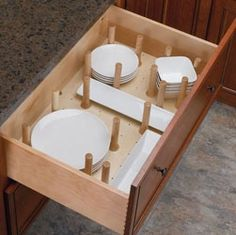 Peg System Kitchen Drawer Organizer Inserts, Rev-a-Shelf Series Wood Drawers, Kitchen Drawers, Cabinet Drawers, Storage Drawers, Storage Cabinets, Dish Drawers, Plate Storage, Van Storage, Plate Racks