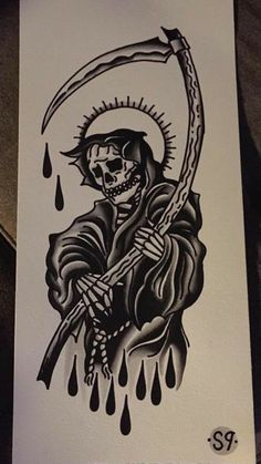 Old Style Tattoos, Chicano Style Tattoo, Black Ink Tattoos, Body Art Tattoos, Sleeve Tattoos, Traditional Tattoo Grim Reaper, Traditional Tattoo Man, American Traditional Tattoos, Traditional Tattoo Black And White