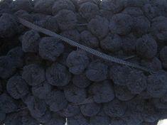 5 Yards Deep Navy Blue Jumbo Pom Pom Trim (pom size 3.5 cm), Extra Large Pom Pom Trim, Blue pom, Pom Pom Fringe, Blue Trim, Navy blue trim by ichimylove on Etsy