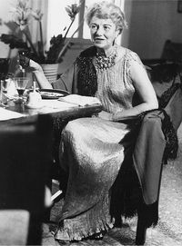 Arts patron Peggy Guggenheim,wearing Fortuny, in her later years | The House of Beccaria