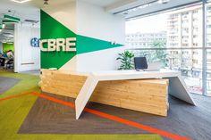 CBRE Bucharest #officeinteriordesign #officespace #inovativedesign #receptionarea