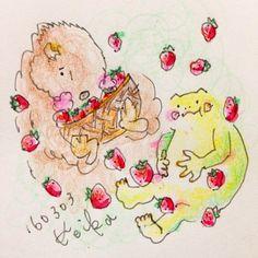 【Around midnight】果物はなんとなく400円未満と決めて買ってるので苺がなかなか買えません。でも苺や苺スイーツが気になって仕方ない。wanna eat strawberries! #bison #frog #animal #drawing #illustration ##strawberries #berry #バイソン #かえる #動物 #いちご #ストロベリー #おえかき #イラスト