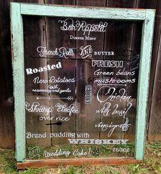 DIY antique windowsHow to make an antique window wedding menu display