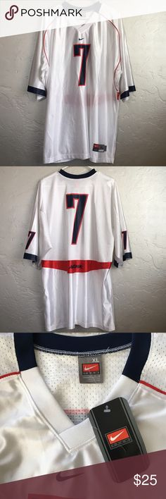 """Nike University of Arizona White Football Jersey NWT..support your Wildcats In this University of Arizona Men's Nike football jersey. Silk screened, mesh back. Tagged an XL but it was really oversized on my boyfriend and fit more like an XXL. Approx measurements 32.5"""" shoulder to hem, 25.5 armpit to armpit, 18"""" shoulder to hem. Football is season is coming. Nike Shirts"""
