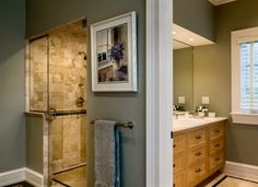 traditional bathroom by Crisp Architects  placement of vanity and shower - like it