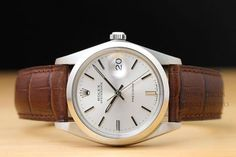 VINTAGE-MENS-34MM-ROLEX-OYSTER-DATE-PRECISION-6694-SILVER-DIAL-WATCH