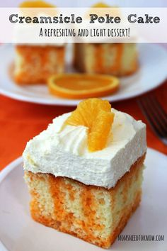 This Orange Creamsicle Poke Cake is so light, refreshing and easy to make.  It's the perfect addition to any spring or summer dessert table or even just a fun treat for the kids!