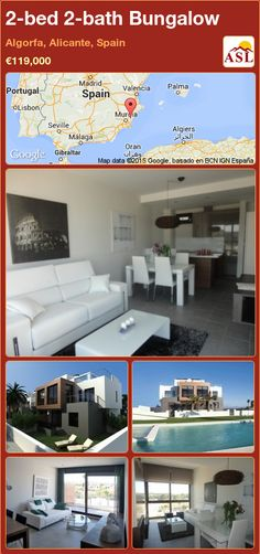 Bungalow for Sale in Algorfa, Alicante, Spain with 2 bedrooms, 2 bathrooms - A Spanish Life Valencia, Portugal, Bungalows For Sale, Alicante Spain, Private Garden, Open Kitchen, Resort Spa, Ground Floor, Small Towns