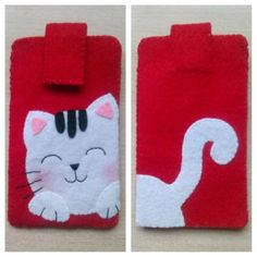 also like the idea you can applique other animals applique Felt Phone Cases, Felt Case, Felt Pouch, Fabric Crafts, Sewing Crafts, Sewing Projects, Cat Crafts, Arts And Crafts, Diy Accessoires