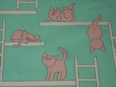vintage 80s juvenile novelty print fabric, featuring super cute kitty cat design