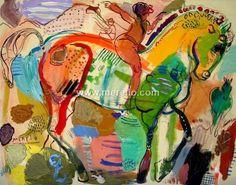 Pintores-espanoles. Actuales-contemporaneos.-merello.-caballito espanol(73x54 cm)mixta-lienzo