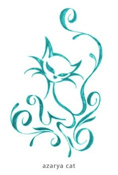 azarya cat color by xoulart on deviantART aqua teal turquoise - doodle inspiration Cat Tattoo Designs, Henna Designs, Body Art Tattoos, Tatoos, Cat Tattoos, Cat Embroidery, Cat Crafts, Cat Drawing, Rock Art