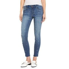1822 DENIM Pearl Skinny Jeans ($29) ❤ liked on Polyvore featuring jeans, super stretch skinny jeans, super stretch jeans, skinny fit jeans, blue skinny jeans and stretchy jeans