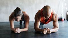 A woman exercising.