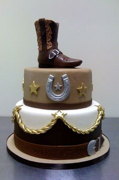 Amy Beck Cake Design - Chicago, IL - Cowboy boot birthday cake - #amybeckcakedesign