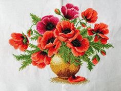 "NEW Completed finished handmade cross stitch""POPPY VASE""decor gift  #hm"
