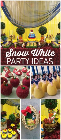 What an incredible Snow White party! Amazing decorations! See more party ideas at CatchMyParty.com!