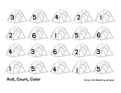 Students will roll a die, count the number of dots, and color a tent with the corresponding number. Great activity for quiet morning work!Excellent for a summer school camping theme~