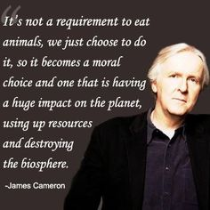 """It's not a requirement to eat animals, we just choose to do it, so it becomes a moral choice and one that is having a huge impact on the planet, using up resources and destroying the biosphere."" - James Cameron"