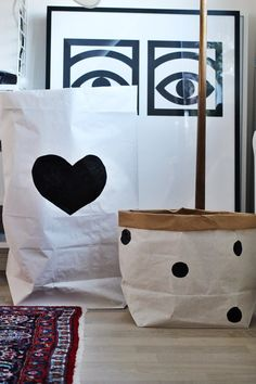 Black Heart paper bag storage of books magazines or by Tellkiddo
