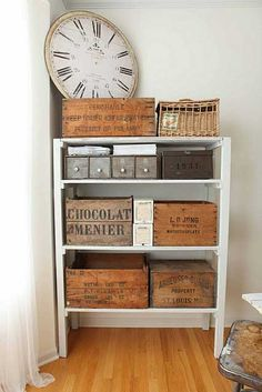 Vintage storage wooden boxes with contemporary shelf