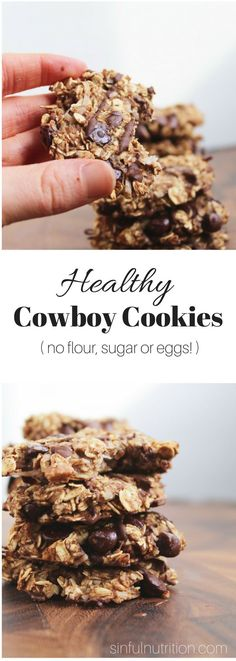 Healthy Cowboy Cookies Recipe (Vegan, Gluten-Free) -- Made with only 9 ingredients, with no added oils, sugars, flours, or eggs! | @Sinful Nutrition | www.sinfulnutriti...