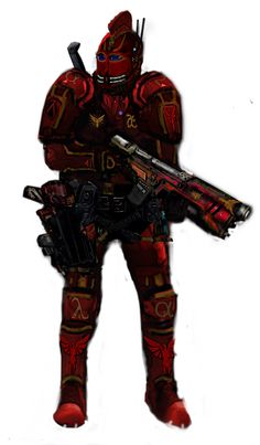 """An #epibatoi trooper in his signature #Royal&Gold armour. He carries an #Argus assault shotgun and a holstered #Mantocorix """"pistol"""". Epibatoi are trained to move quickly in spite of their heavy load out ssault shotgun and a holstered #Mantocorix """"pistol"""". Epibatoi are trained to move quickly in spite of their heavy load out. #writingcommunity #EmpyraeumCycle #scifi #scififantasy #scifibook #scifiseries #alanjfisher #Empyraeum #Kalshodar #scifimilitary #scifimilitaryart #scifidaily #scifiart Gold Armor, Sci Fi Series, Sci Fi Books, Sci Fi Fantasy, Military Art, Sci Fi Art, Shotgun, Short Stories, Armour"""