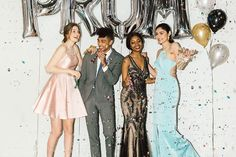From left to right: Dress from Marla's, Ted Baker shoes from Town Shoes; Suit from Indochino, Shirt, Tie and Shoes from Simons; Dress from Hudson's Bay, Shoes from Nine West; Dress from Marla's, Earrings from Claire's. #promdress #prom #promshopping #hair #party #confetti #balloons #wedding #suit #thatONEmoment Ted Baker Shoes, Hudson Bay, Victoria, Shopping Center, Nine West, Sport, Casual, Prom Dresses, Suits