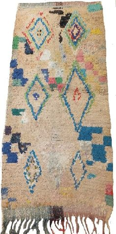 Vintage Moroccan Boucherouite Rug Berber Tribal Contemporary Modern Wall Art Painting  3.3 x  6.1  FT