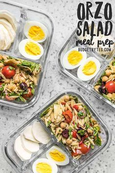 A cold pasta salad makes the base for these Orzo Salad Meal Prep cold lunch boxes, with plenty of options for alternate pairings! Make this healthy pasta when you meal prep for the week and enjoy for lunch or dinner. Vegetarian Meal Prep, Lunch Meal Prep, Easy Meal Prep, Healthy Meal Prep, Vegetarian Recipes, Easy Meals, Healthy Recipes, Healthy Cold Lunches, Vegetarian Lunch Boxes