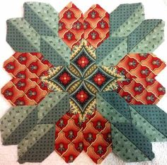 Lucy Boston block - Patchwork of the Crosses block made by Kathleen Seeley Hexagon Quilt, Quilt Block Patterns, Square Quilt, Quilt Blocks, Quilting Projects, Quilting Designs, Quilting Ideas, Millefiori Quilts, Cross Quilt