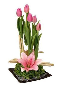 Tulips and Lilies Flower Arrangement to Mexico - Send Gifts to Mexico