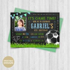 Printable Soccer Birthday Invitation Football Party Invite